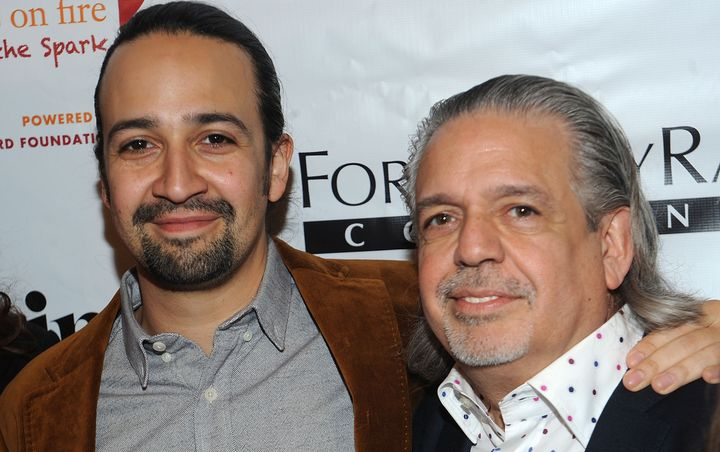 Lin-Manuel and his father Luis Miranda, accepting Girl Be Heard's first ever Fairy Godfather Award.