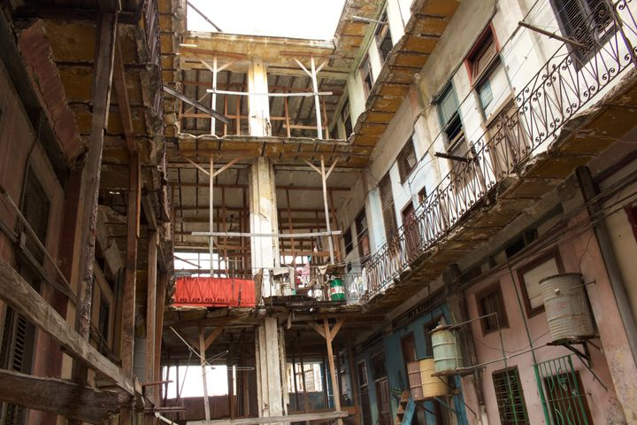 The dilapidated building in Havana where Francisco Jesús Jiménez lives. The shortage of adequate housing in Cub
