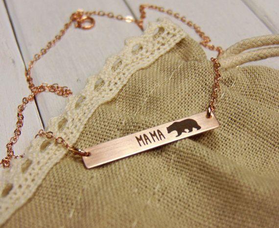 "Rose Gold ""Mama Bear"" Necklace -- $40.00"