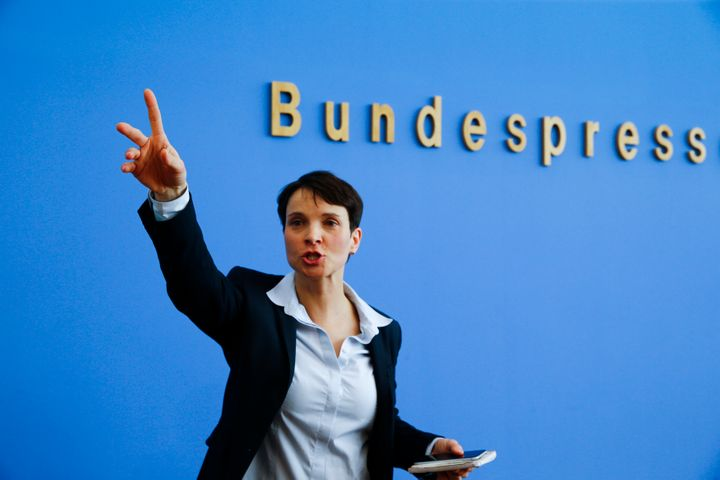 Frauke Petry, chairwoman of the anti-immigration Alternative for Germany party, speaks in Berlin on March 14, 2016. The party
