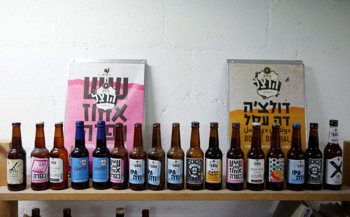 Beer produced by Herzl Brewery are displayed at the brewery in Jerusalem.