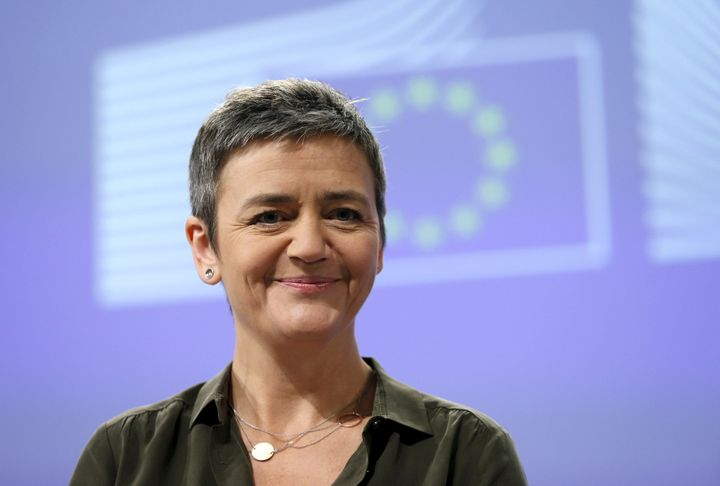 European Competition Commissioner Margrethe Vestager looks on as she addresses a news conference in Brussels, Belgium, Januar