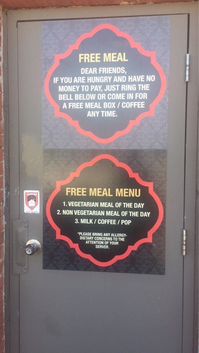 The sign on the back door of Indian Fusion.