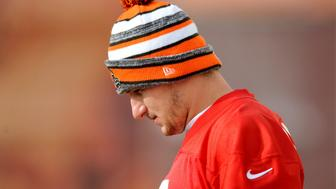 BEREA, OH - DECEMBER 11, 2015: Quarterback Johnny Manziel #2 of the Cleveland Browns walks onto the field during a practice on December 11, 2015 at the Cleveland Browns traininst facility in Berea, Ohio. Cleveland will host the San Francisco 49ers on December 13 at FirstEnergy Stadium in Cleveland, Ohio. (Photo by Nick Cammett/Diamond Images/Getty Images)