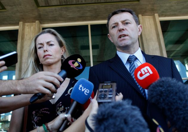 Kate and Gerry McCann outside a Lisbon court in 2014 after they were awarded