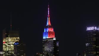 NEWY YORK, UNITED STATES - APRIL 19: The Empire State buildings is seen illuminated with red light for Republican Party and blue light for Democratic Party during the New York Republican and Democratic presidential primaries held prior to upcoming presidential elections, in New York, USA on April 19, 2016. (Photo by Cem Ozdel/Anadolu Agency/Getty Images)