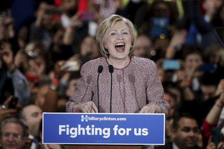 U.S. Democratic presidential candidate Hillary Clinton reacts to the cheers of the crowd at her New York presidential primary