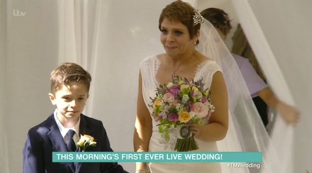 Annie was walked down the aisle by son