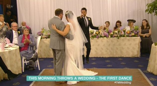 Peter Andre performed at the couple's