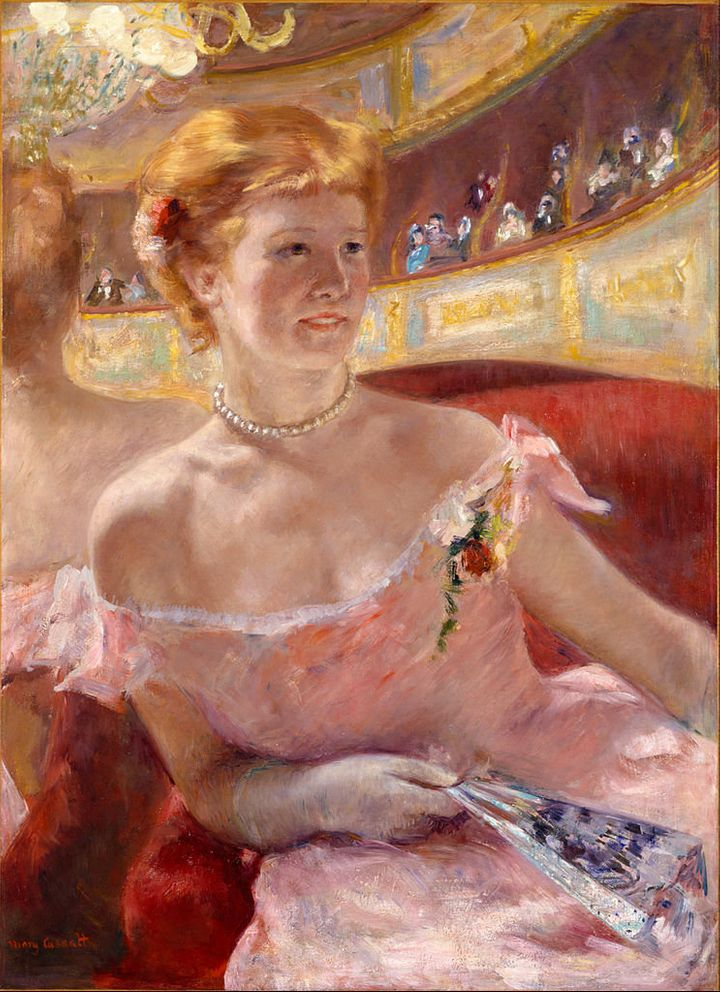 "Mary Cassatt, ""Woman with a Pearl Necklace in a Loge,"" 1879"