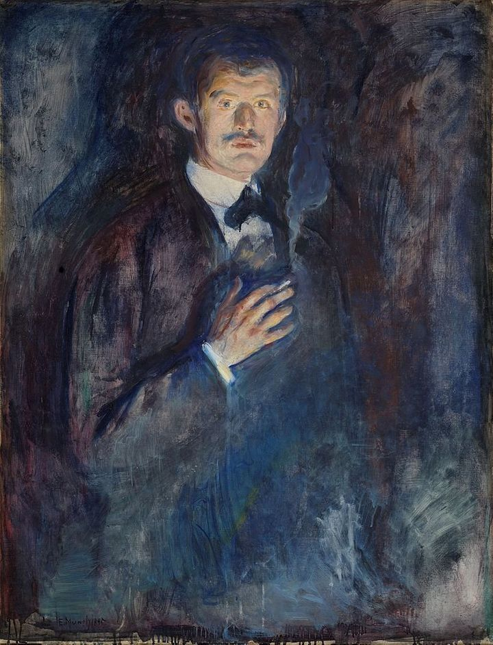 "Edvard Munch, ""Self-Portrait with a Burning Cigarette,"" 1895"