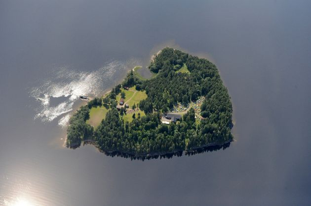 An aerial view shows Utoya island on 21 July 2011, one day before Breivik killed 69 people on it, most...