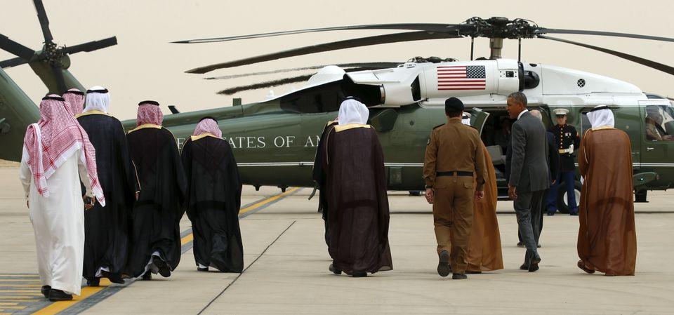 Obama walks toward Marine One upon his arrival at King Khalid International Airport for a summit meeting in Riyadh, Saudi Ara
