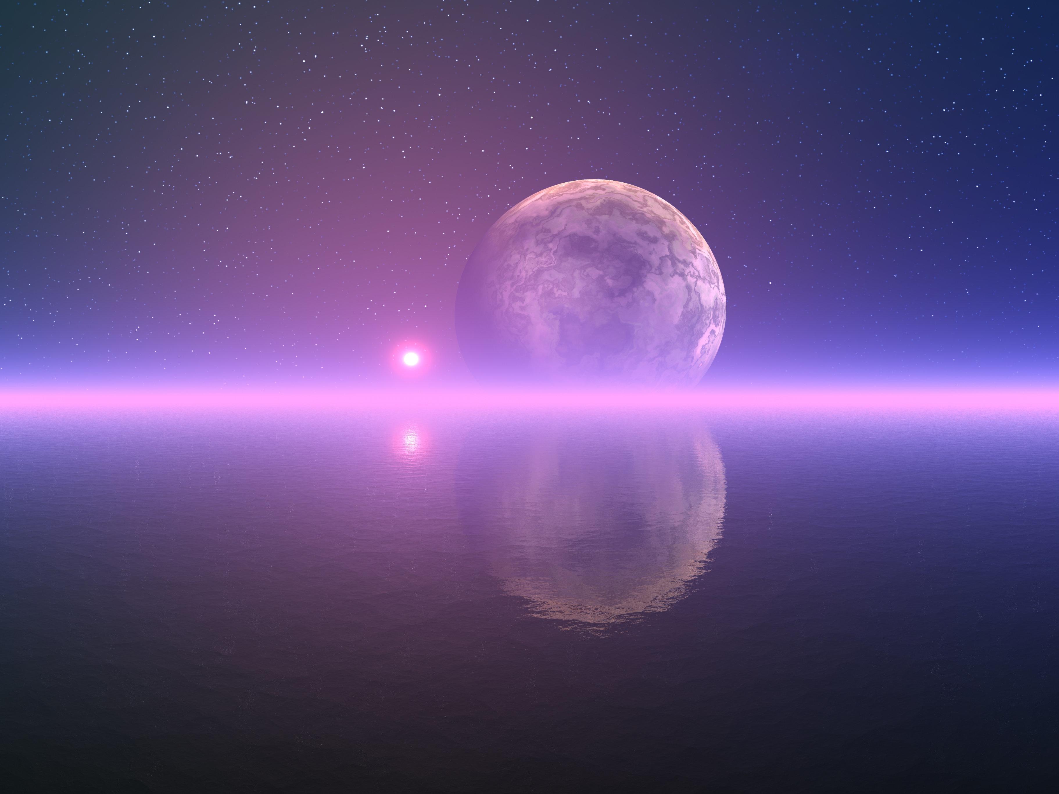Alien lunar seascape
