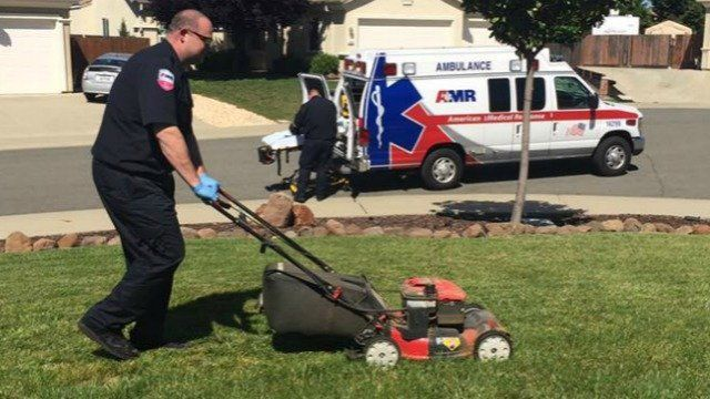When an 87-year-old man in Lincoln, Calif., passed out while mowing his lawn, EMT Chris Spires finished the job.