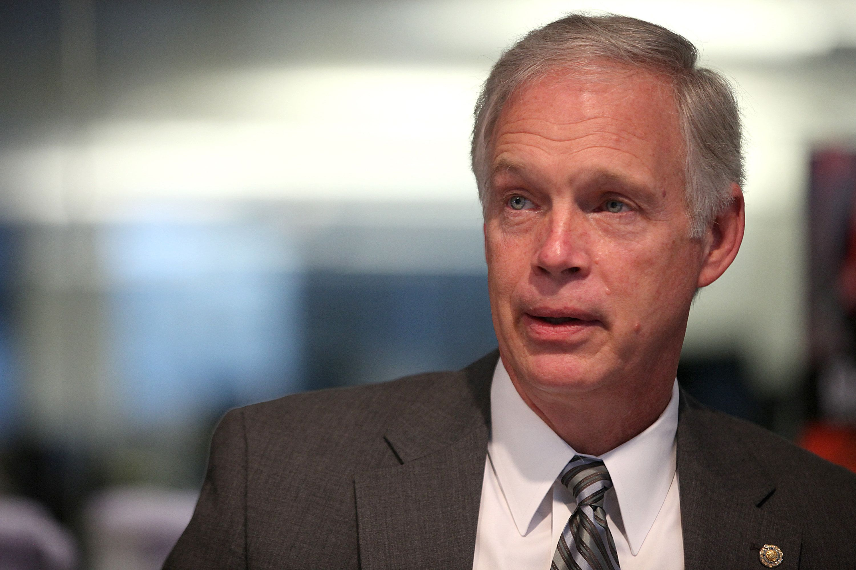 Senator Ron Johnson, a Republican from Wisconsin, speaks during an interview in Washington D.C., U.S., on Friday, Oct. 11, 2013. Johnson said at a Bloomberg breakfast today that lawmakers were using the debt ceiling for leverage because 'how else can you get those people -- the president, Democrats in the Senate and the House -- to come to the table and start working with you in good faith to solve a long-term problem?' Photographer: Julia Schmalz/Bloomberg via Getty Images