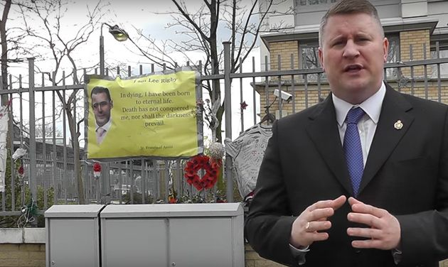 Britain First's London mayoral candidate Paul Golding at Woolwich, where 25-year-old soldier Lee Rigby...