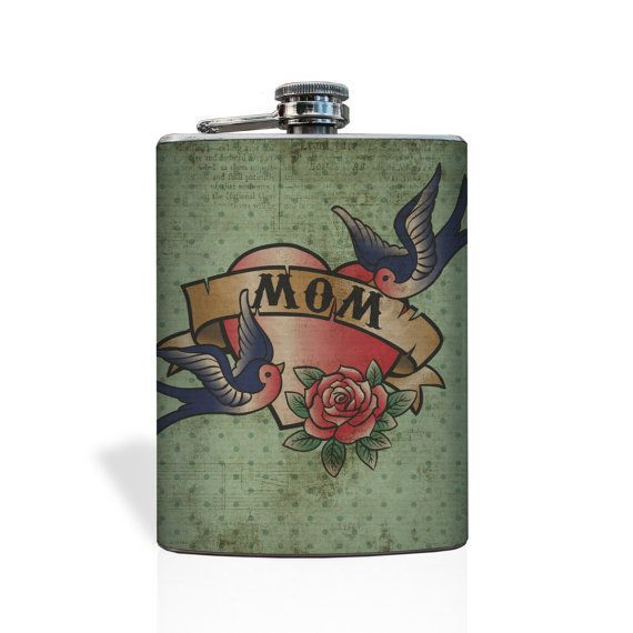 """Mom"" Vintage Tattoo Flask -- $16.99"