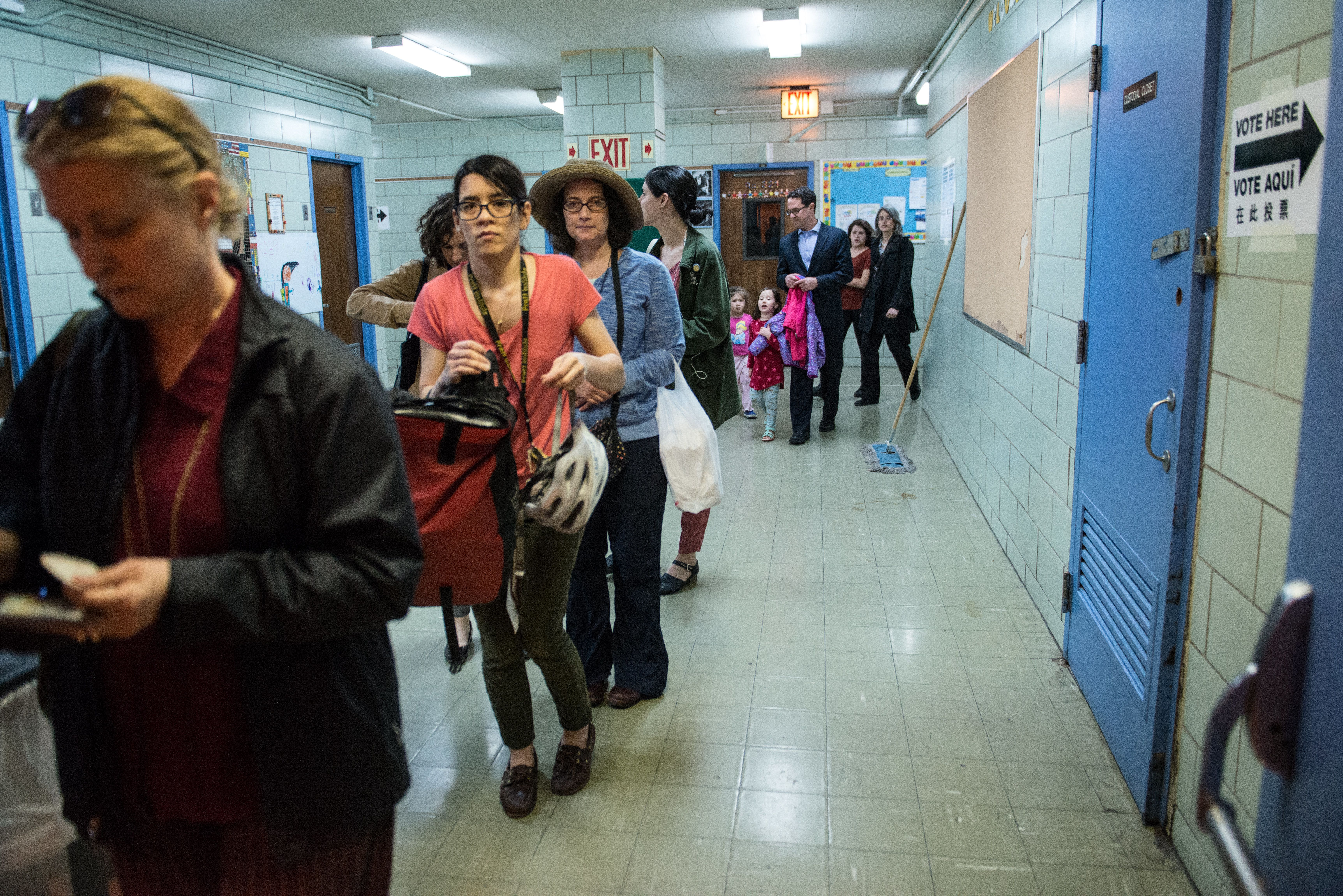 NEW YORK, NY - APRIL 19: People line up to check into their voting station at Public School 321 on April 19, 2016 in the Brooklyn borough of New York City. Voters are going to the polls in New York for the presidential primary election. (Photo by Stephanie Keith/Getty Images)