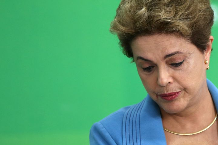 Brazilian President Dilma Rousseff at a news conference in Brasilia on April 18, 2016.