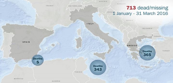 This image from IOM shows where deaths have occurred in 2016.