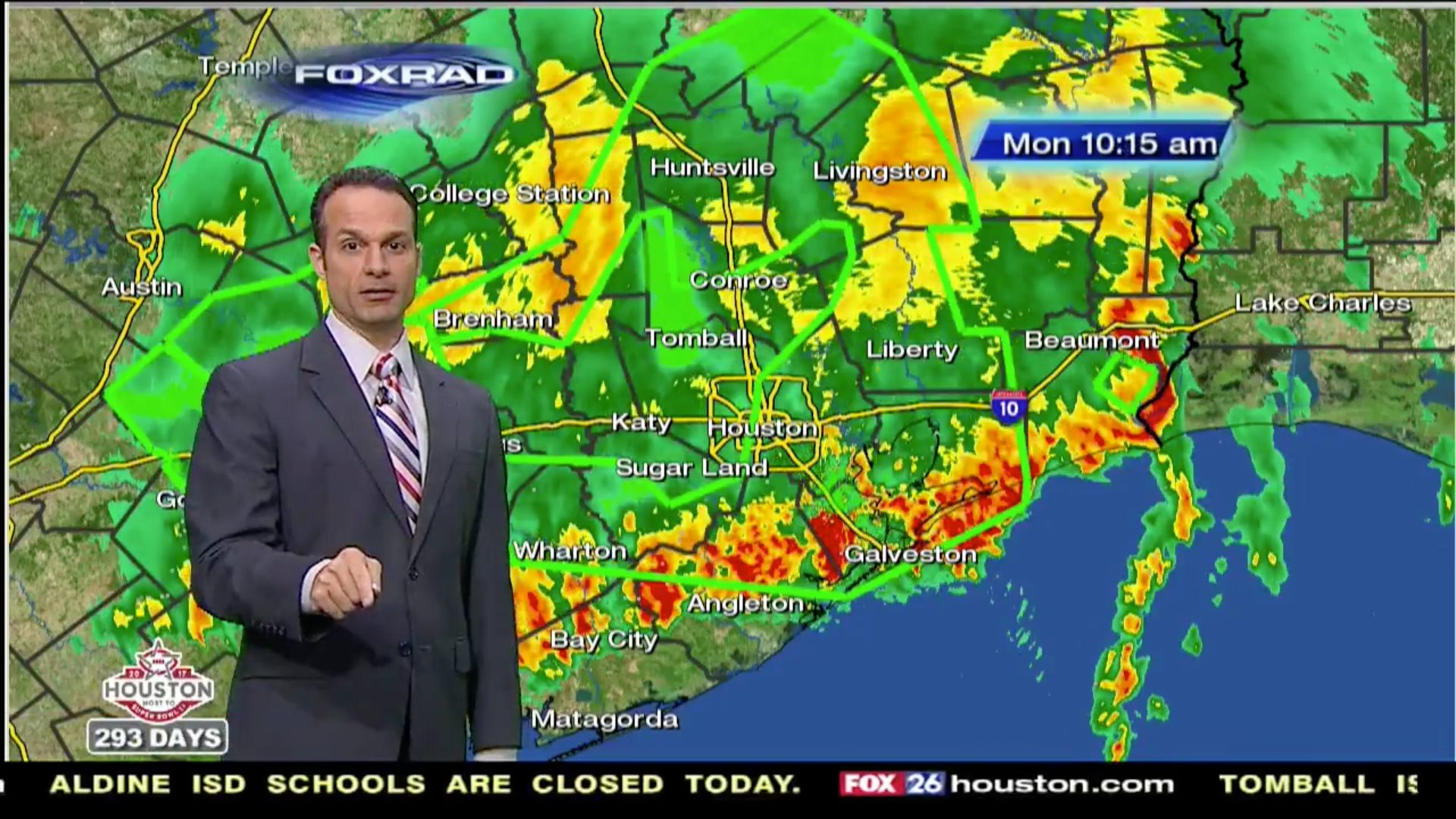 KRIV-TV meteorologist Mike Iscovitz asked viewers to inform his newsroom if they were fired for not braving Houston's rising