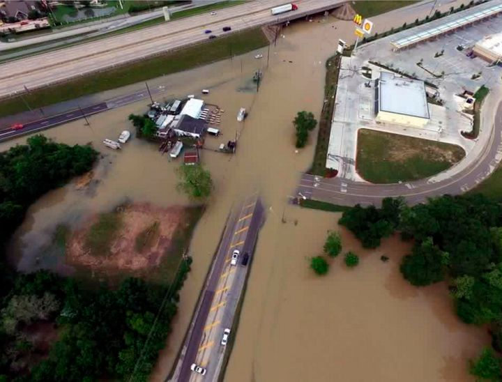 Flood waters are seen covering an area of Fort Bend County, Texas, on Tuesday. Local officials were busy handling over 1