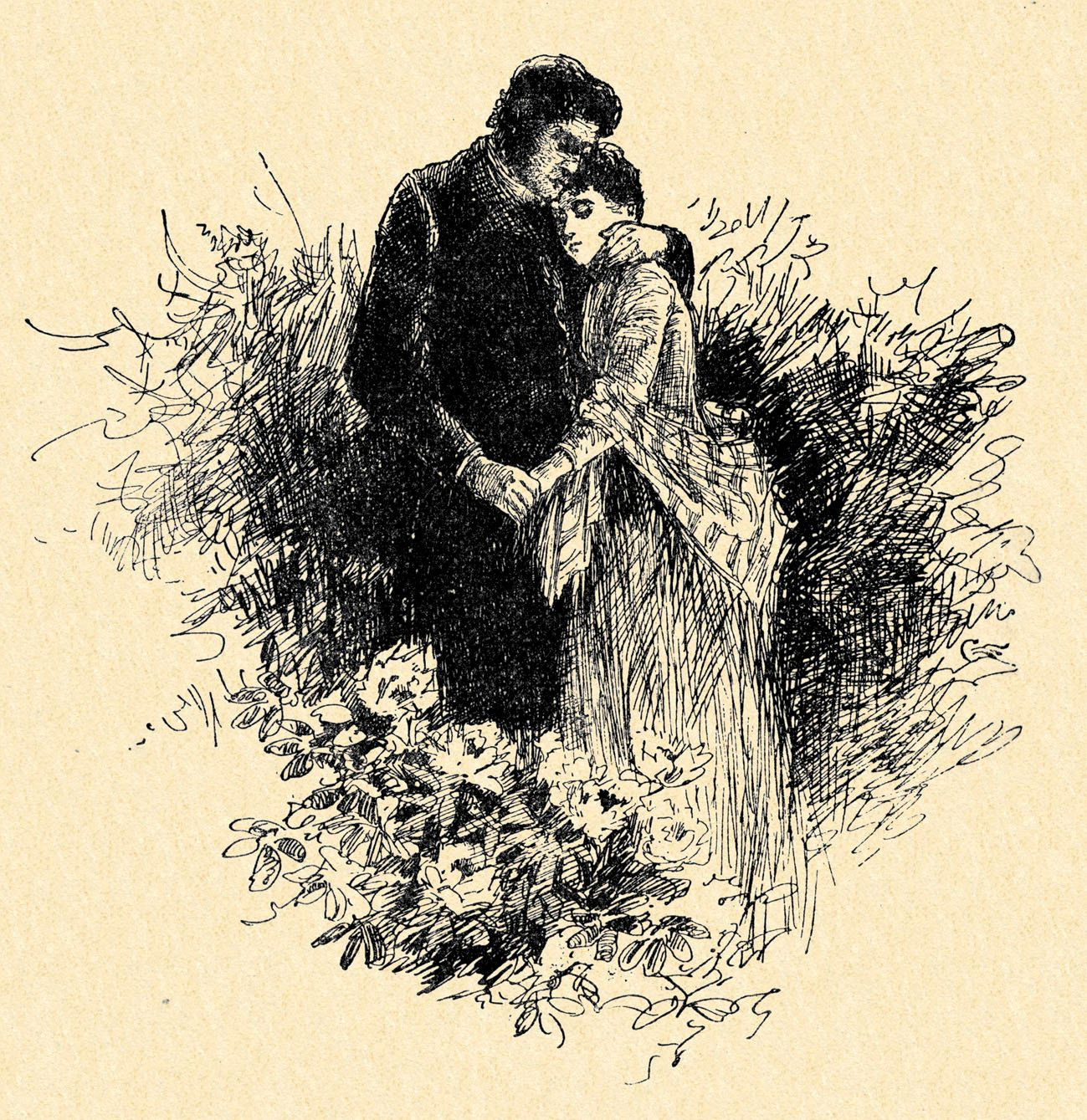 Mr Rochester and Jane Eyre. Caption reads: 'Are you happy, Jane ?' Illustrated by Edmund Henry Garrett.
