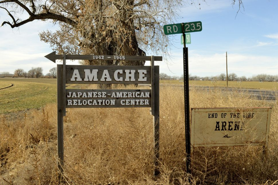A sign at the entrance to Camp Amache, where Rep. Mike Honda spent the first few years of his life.