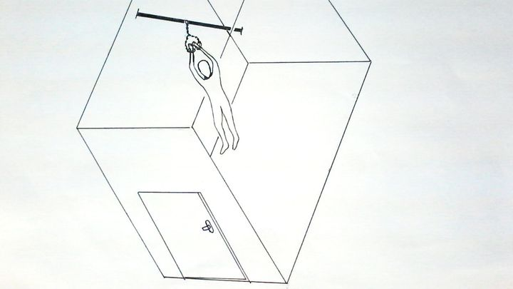 A drawing by Mohamed Ahmed Ben Soud, who was forced to hang naked from a metal rod by his arms for a day and a half.