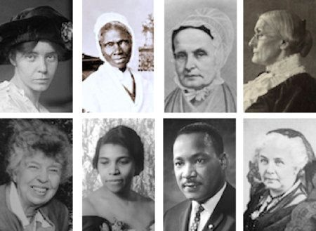 """The <a href=""""http://www.nytimes.com/2016/04/21/us/mlk-eleanor-roosevelt-susan-anthony.html"""" target=""""_blank"""" role=""""link"""" data-ylk=""""subsec:paragraph;itc:0;cpos:__RAPID_INDEX__;pos:__RAPID_SUBINDEX__;elm:context_link"""">new faces on $5, $10 and $20 bills</a> include (top, left to right): Alice Paul, Sojourner Truth, Lucretia Mott, Susan B. Anthony. And (bottom, left to right) Eleanor Roosevelt, Marian Anderson, Martin Luther King Jr. and Elizabeth Cady Stanton."""