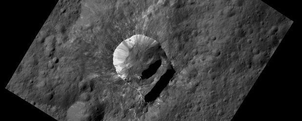 """The Oxo crater on Ceres, which has a """"slump"""" in its rim."""