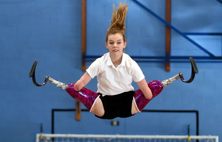 Izzy Weall won her category in the National Trampolining Competition