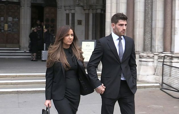 Ched Evans leaving the Court of Appeal in London with partner Natasha Massey, after he won his appeal...