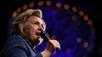 PHILADELPHIA, PA - APRIL 20:  Democratic presidential candidate former Secretary of State Hillary Clinton speaks during a campaign rally at The Fillmore on April 20, 2016 in Philadelphia, Pennsylvania. A day after Hillary Clinton won the New York presidential primary, she spent the day campaigning in Philadelphia.  (Photo by Justin Sullivan/Getty Images)