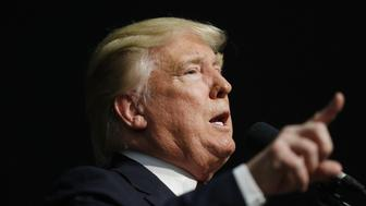 Donald Trump, president and chief executive of Trump Organization Inc. and 2016 Republican presidential candidate, speaks during a campaign event in Indianapolis, Indiana, U.S., on Wednesday, April 20, 2016. Trump and Hillary Clinton won their New York presidential primaries Tuesday, ending losing streaks for both campaigns and allowing the two front-runners to reassert control over their party nominating fights. Photographer: Luke Sharrett/Bloomberg via Getty Images