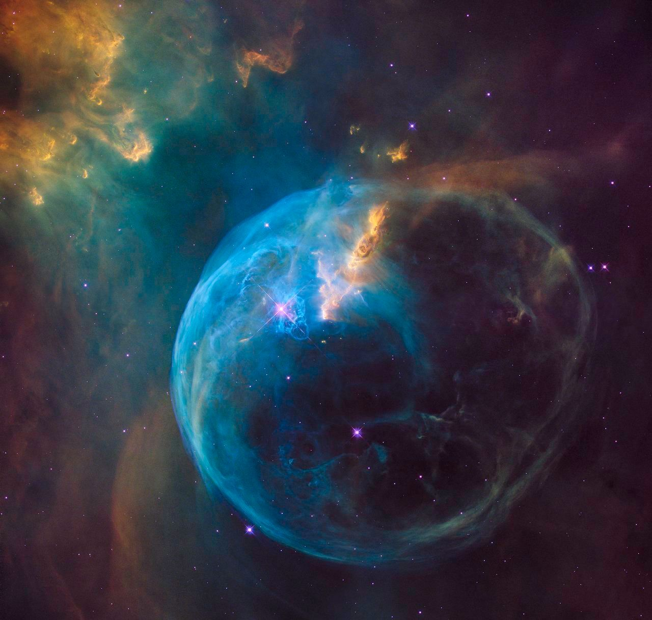 The Bubble Nebula, also known as NGC 7653, is an emission nebula located 8 000 light-years away. This stunning new image was observed by the NASA/ESA Hubble Space Telescope to celebrate its 26th year in space.