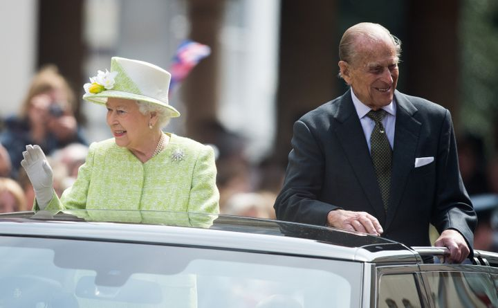 The monarch then drove through Windsor in an open-topped car with her husband Prince Philip.