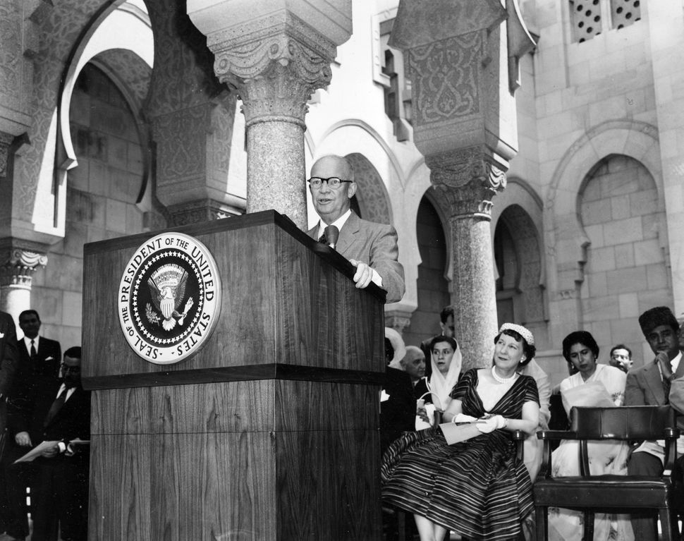President Dwight D. Eisenhower, who was a Republican, dedicates the Islamic Center of Washington in 1957.