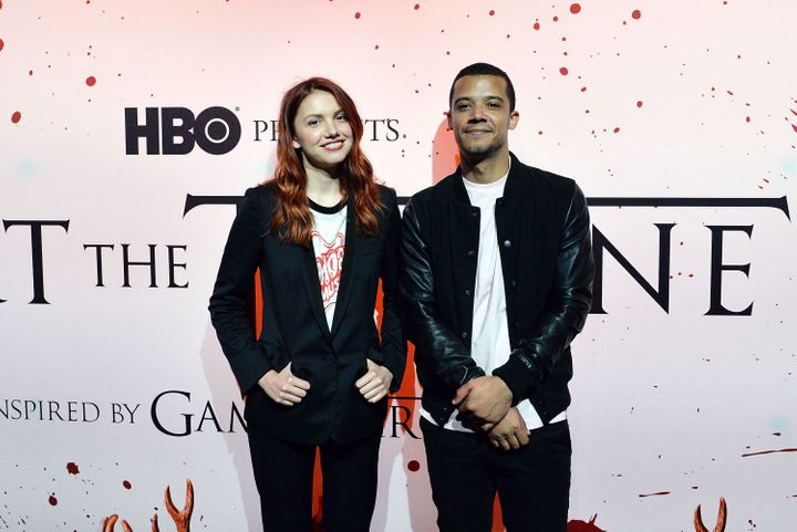 "Jacob Anderson, right, and Hannah Murray, left, appear at HBO's ""Art the Throne"" event in New York on April 20."