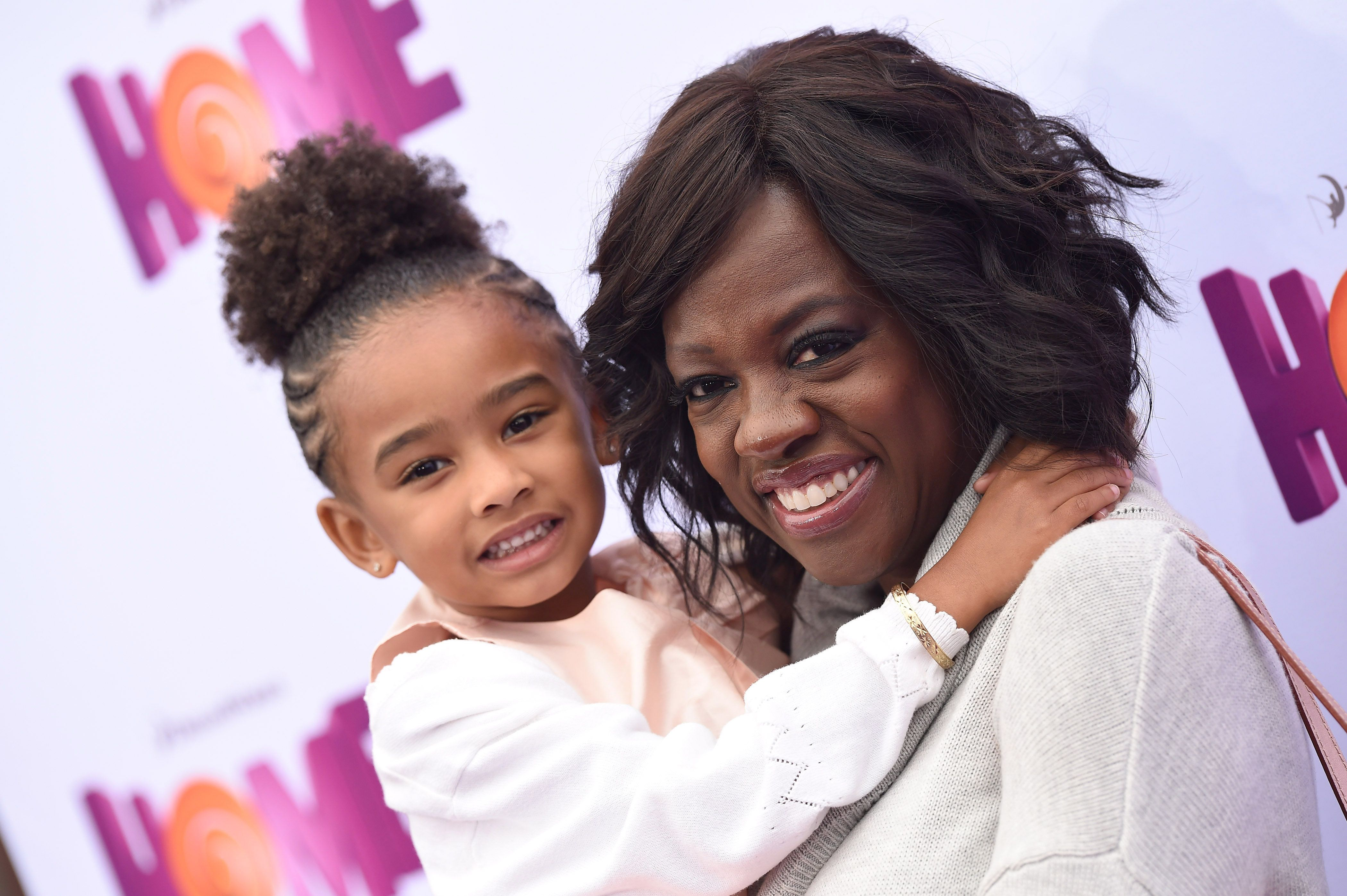 WESTWOOD, CA - MARCH 22:  Actress Viola Davis and daughter Genesis Tennon arrive at the Los Angeles premiere of 'HOME' at Regency Village Theatre on March 22, 2015 in Westwood, California.  (Photo by Axelle/Bauer-Griffin/FilmMagic)