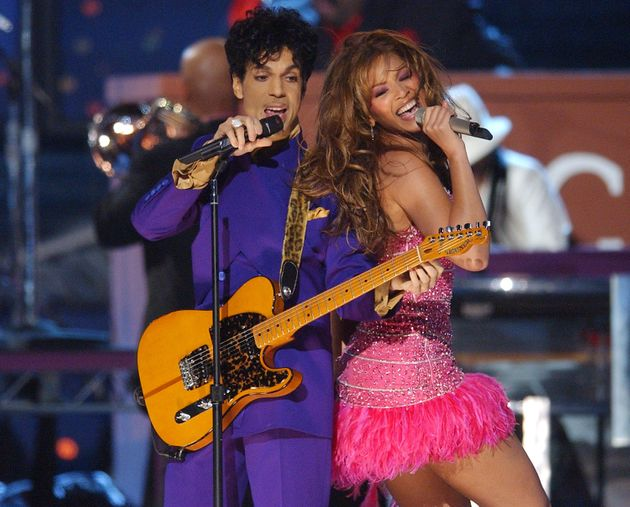Prince and Beyonce perform a medley of his hits during The 46th Annual GRAMMY Awards, at the Staples...