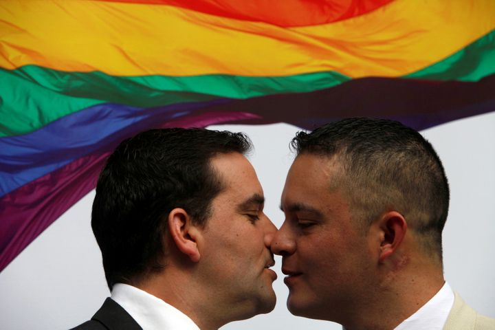 Hugo Alcalde and Jose Luis Valdes are seen following their April 20 civil union celebration.