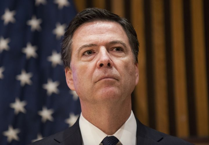 FBI Director James B. Comey attends a news conference on terrorism after speaking at the NYPD Shield Conference in the Manhat