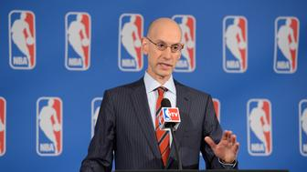 NEW YORK CITY - APRIL 15:  NBA Commissioner Adam Silver addresses the media after the Board of Governors' meetings at the St. Regis Hotel on April 15, 2016 in New York City. NOTE TO USER: User expressly acknowledges and agrees that, by downloading and/or using this Photograph, user is consenting to the terms and conditions of the Getty Images License Agreement. Mandatory Copyright Notice: Copyright 2016 NBAE (Photo by Jennifer Pottheiser/NBAE via Getty Images)