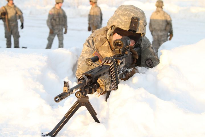 Soldiers at a machine gun range at Fort Wainwright.