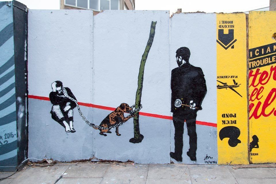 Subay collected a freedom of expression award in London last week, and took the opportunity to paint...