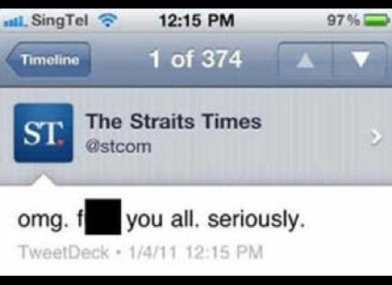 "On April 2, a staffer for Singapore-based news outlet <a href=""http://twitter.com/#!/stcom"" target=""_hplink"">The Straits Time"