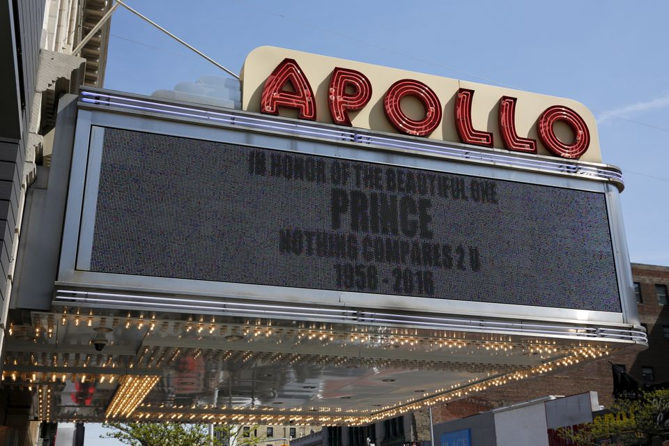 "On the day the artist died, the marquee of New York City's Apollo Theater, where Prince <a href=""http://abc7ny.com/enter"