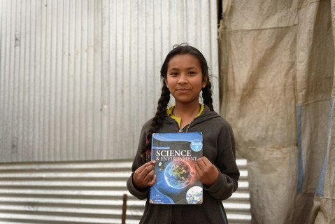 After her home collapsed in Bhaktapur, Nepal, Shreesha Duwal, 12, moved with her mother, father, grandfather and one sibling